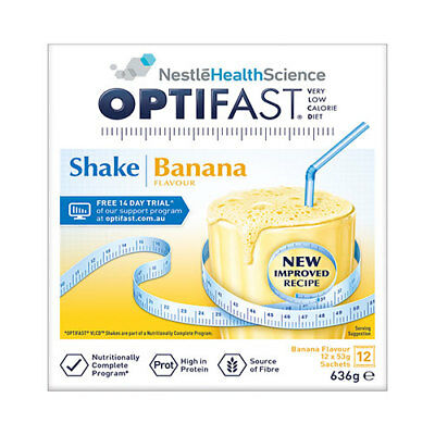 NEW Optifast VLCD Banana Shake - 12 x 53g Sachets