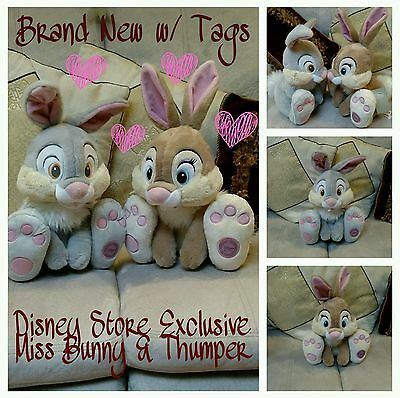 """Disney Store Exclusive Thumper & Miss Bunny Sweetheart Plush Set 15"""" NEW w/ TAGS"""