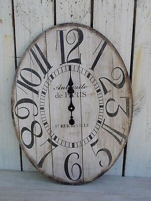 Large oval wood wall clock ANTIQUE DE PARIS distressed french country home decor