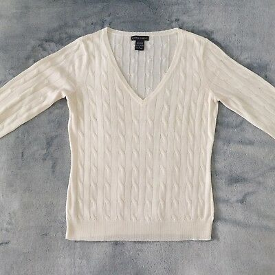 New York & Company Co Womens M Acrylic White Cable Knit V Neck Sweater Ivory