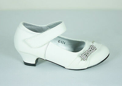New Girls Sparkling Diamante Formal Shoe Wedding Party White AU Size 7-3