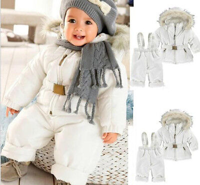 UK Toddler Boys Girls Kids Clothes Winter Snowsuit Coat Jacket+Pants Outfits