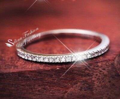 925 Sterling Silver+White Gold Filled AAA Grade Cubic Zirconia Wedding Band Ring