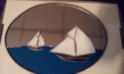 Handmade Stained Glass Sail Boats hanging Wall Mirror - Vintage