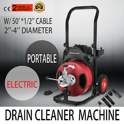 50FT*1/2'' Drain Auger Pipe Cleaner Cleaning Machine Convenient Sewage W/Cutter