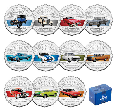 2017 Ford Australian Classic Collection  Set Of 11 Coloured Coins Only And Tin