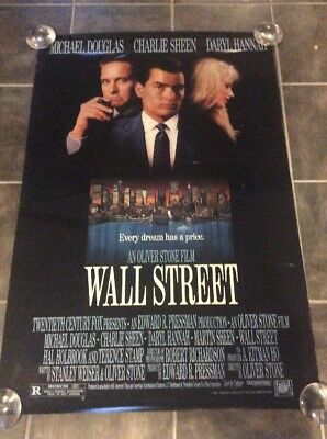 """1987 Wall Street Original Movie Poster! Great Condition!  40"""" X 27""""!"""