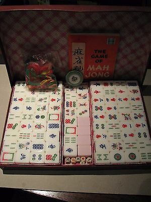 Vintage Pink/White Chinese Mahjong / MaJong Set Made in Singapore 1970's