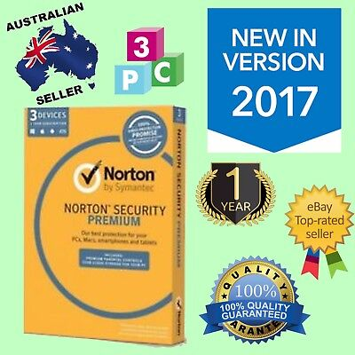Norton Internet Security PREMIUM 2017 1 Year 3 PC WINDOWS MAC [Fast Send] Sale!