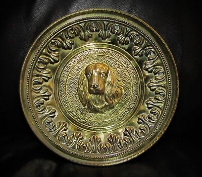 "Vintage Cocker Spaniel Dog Hammered Brass 12"" Plate Wall Decor LOMBARD ENGLAND"