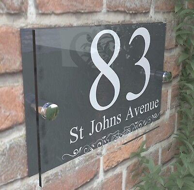 Anthracite Classic House Sign Door Number Street Address Plaque Modern Dec2WA