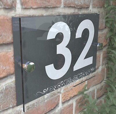 Anthracite Classic House Sign Door Number Street Address Plaque Modern Dec19WA