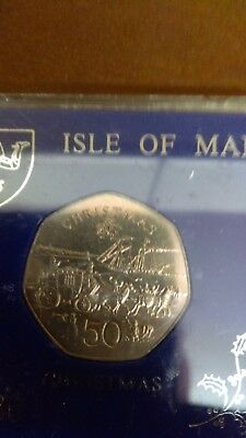 1980 Isle of Man(horses and carriage) Christmas 50p coin