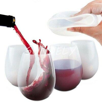 Practical BBQ Silicone Wine Glasses Foldable Unbreakable Silicone Beer Glass UK