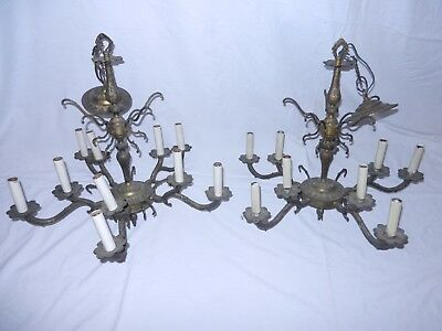 Rare Pair Cast Brass Crystal 5 Arm Chandeliers Nice for restoration