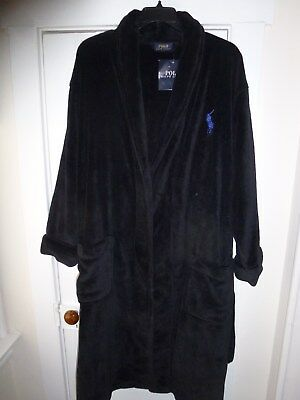 NWT Mens Polo Ralph Lauren Plush Robe Black w/Purple Horse One Size