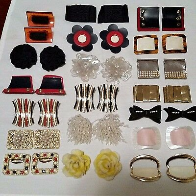 VINTAGE SHOE CLIPS, Lot of 19 Pair, All Different, Excellent Condition!