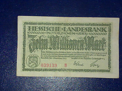 Germany - 10 Million Mark  Banknote 1923- Darmstadt-Inflation - Very Fine