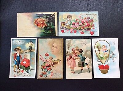 Vintage Valentine Postcards Lot of six from 1913 & 1915