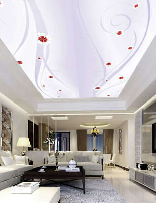 Red-and-white Posy Full Wall Mural Photo Wallpaper Print 3D Ceiling Decor Home