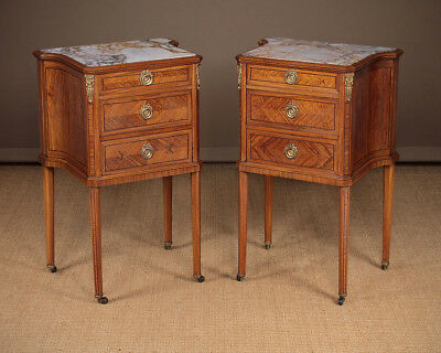 Antique Pair of Satinwood & Marble Top Bedside Cabinets c.1905.
