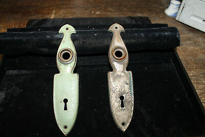Antique Pair Victorian or Art Deco Door Knob Back Plate Brass or Bronze