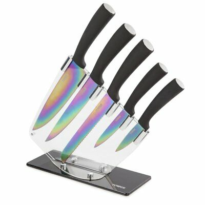 Tower T80703 5pce Titianum Coated Knife Set with Acrylic Stand - Brand New