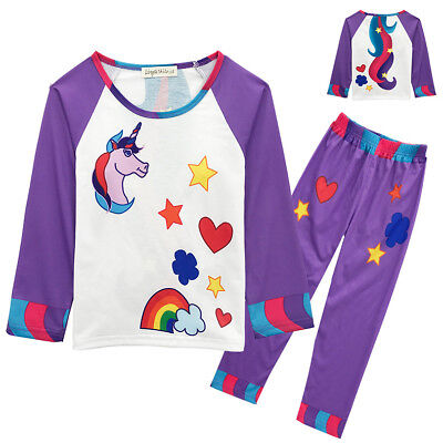 Kids Girls Unicorn Cartoon Pyjamas 2 Pcs Set Sleepwear Christmas Gift