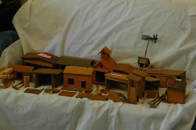 Vintage Wood Cavalry Fort Wild West Cowboy Town Timpo? Church, Blacksmith & more