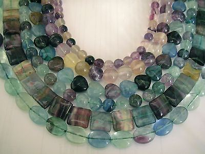UKcheapest-15.5''genuine fluorite round teadrop oval square heart gemstone beads