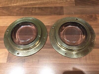 Pair of Brass Ships Deck Lights Maritime Marine Nautical Boat