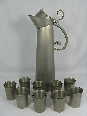 VINTAGE 70´s DESIGN HAVSTAD NORWEGIAN PEWTER JUG  SET DESIGN ZINNKRUG SET