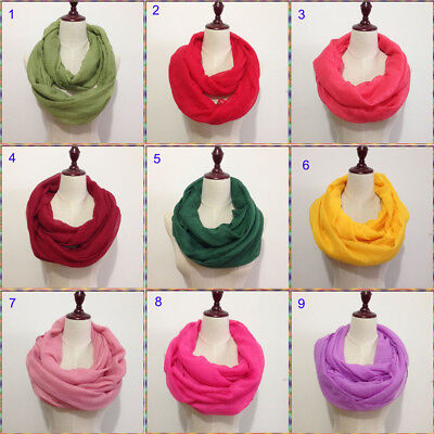 Solid Color Light Weight Thin Infinity Scarf Circle Loop Fashion 12 Colors