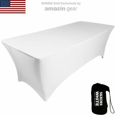 Amazin Gear SKRIMS PRO DJ Table Scrim Cover, 4' WHITE Stretch Spandex Tablecloth