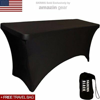 Amazin Gear SKRIMS PRO DJ Table Scrim Cover, 4' BLACK Rectangular Stretch w/ Bag