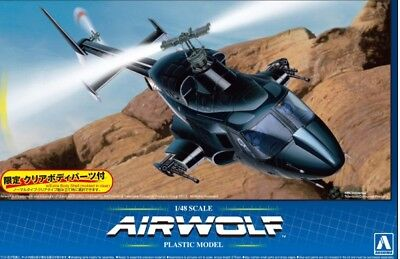 Aoshima 1/48 Airwolf Helicopter 1980s TV Show w/Optional Clear Body AOS5590-NEW