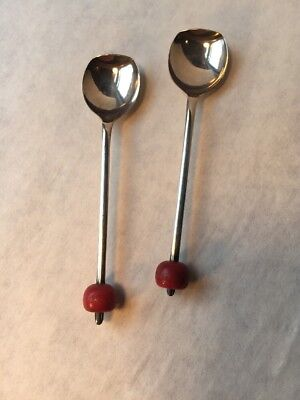"Pair of Antique Sheffield UK Bent Tip EPNS 4"" Silver Spoons, Red Bakelite Beads"