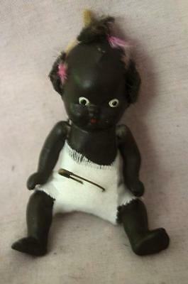 Vintage Japan Bisque Black Baby Doll with Diaper, Pigtails and Movable Limbs