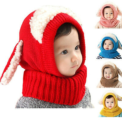 Soft Baby Toddler Winter Beanie Warm Hat Hooded Scarf Earflap Knitted Cap Kid US