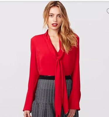 New With Tag Rachel Roy Red Lipstick Blouse with Big Bow. Large Size. $89 retail