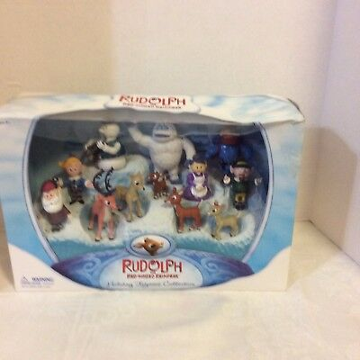 NEW Rudolph the Red Nose Reindeer Collectible Figurine Set 12 Figures Round2