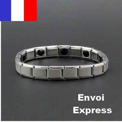 Bracelet Extensible Germanium Titanium Energetique Magnetique Homme Femme