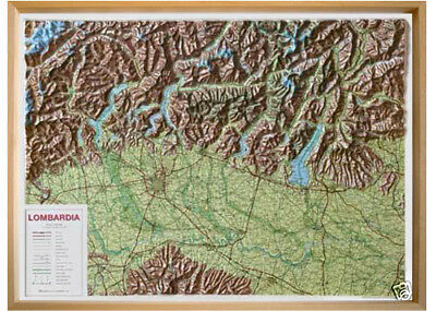 Lombardia Carta Regionale In Rilievo [92X66 Cm] [Con Cornice] Global Map