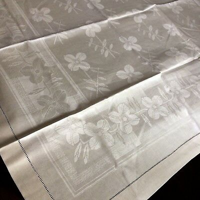 UNUSED tablecloth antique vtg ivory damask linen CZECH deco floral hem stitch