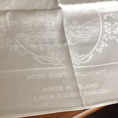 UNUSED antique vtg IRISH linen double damask tablecloth napkins figural castle