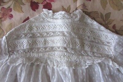 PRETTIEST ANTIQUE FRENCH LACE LAWN COTTON BABY DOLLS TEDDY OVER PETTICOAT c1900