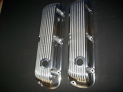 Valve Covers, Aluminum, Polished, Stock Height, Finned, Ford, 289/302/351W,