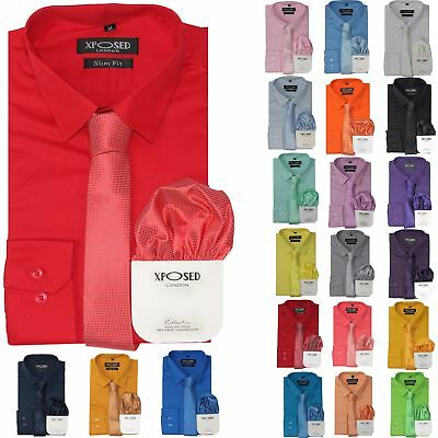 Mens Classic Cotton Slim Fit Dress Shirt Tie Hanky Gift Set Smart Casual Work