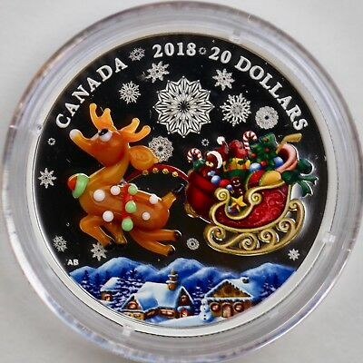 2018 $20 Holiday Reindeer 1 oz. Pure Silver Coin, Murano Glass Element, Buy Now!