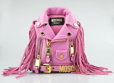 fd531aafe0b18 NWT MOSCHINO Pink Leather Mini Motorcycle Jacket Fringe Backpack Handbag  $1345